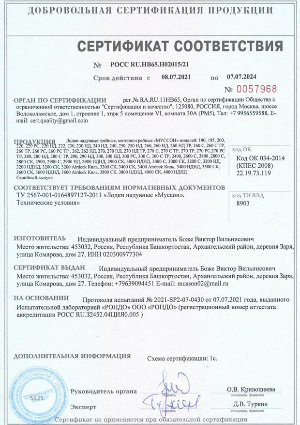 Сертификат лодки Муссон 2021-2024 год
